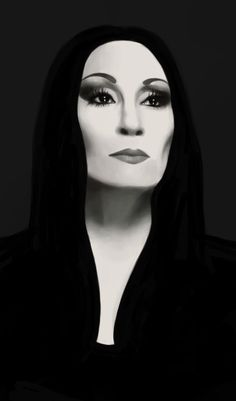 A rather quick drawing of Anjelica Huston as Morticia Addams. Los Addams, Die Addams Family, Addams Family Tattoo, Gomez And Morticia, Morticia Addams Makeup, Anjelica Huston, Pin Up, Arte Horror, Gothic Art