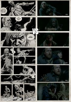 Comic / TV comparison of The Walking Dead Walking Dead Comics, Walking Dead Series, Fear The Walking Dead, Z Nation, Love Movie, Daryl Dixon, Zombie Apocalypse, Movie Posters, Fandoms