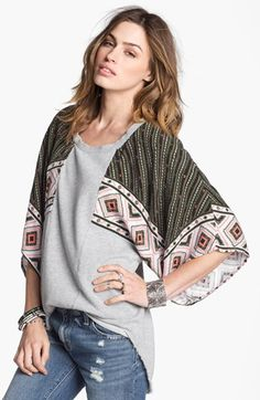 Free People 'Festival' Mixed Media Sweatshirt available at #Nordstrom - I'm so glad that I bought this! I can already tell it's going to be my new fav. :)