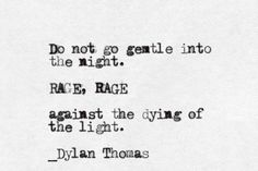 """""""Do not go gentle into the night. RAGE, RAGE against the dying of the light"""" -Dylan Thomas"""