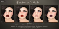 Izzie's Kaelyn 20's Skin - Demo available - 4 Makeups Available - Included w/ Light & Dark Eyebrows (on skin) - Cleavage Options (on skin) - Appliers for slink hands & feet, Included - 1 Eyeliner (tattoo) & eyebrow shape, Included - 188L each skin