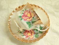 Vintage Royal Albert Sweetheart Roses ANNE Teacup Brushed Gold Bone China