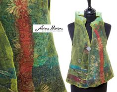 Wearable Art Women Vest Nuno Felt Wool Silk Vest Unique Reversible Textile Art Garment Convertible Bolero vest Hand made Paris Design  Be unique, be original, be yourself! By wearing this original, one of a kind fiber art work, made with love, passion and know-how by Ariane Mariane – art textile/Paris you celebrate life and artistic craftsmanship.  This wonderful women felt vest is thought for someone special with a (slightly) eccentric lifestyle who loves to make heads turn around.  Ent...