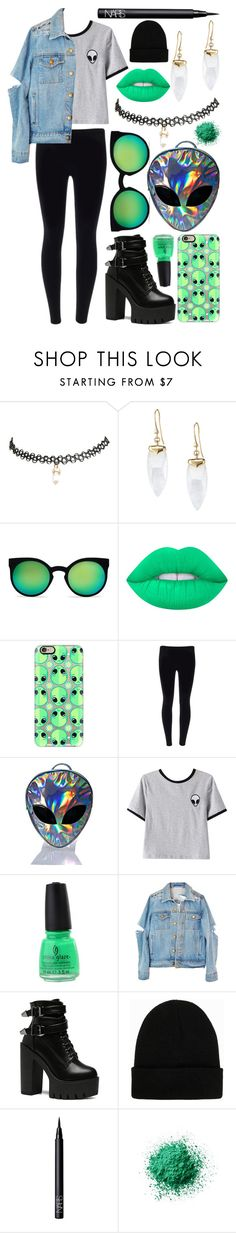 """Sad Alien"" by meaganmuffins on Polyvore featuring Wet Seal, Stella & Dot, Kosha, Lime Crime, Casetify, Disturbia, Chicnova Fashion, China Glaze, NLY Accessories and NARS Cosmetics"
