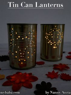 Homemade Tin Can Lanterns | Nanny Anita | My Baba Night Jar, Tin Can Lanterns, Silhouette Pictures, Crafts For Kids, Arts And Crafts, Recycling Bins, Rustic Lighting, Candle Making, Cosy