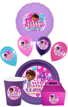 Doc Mcstuffins Party Pack With Plates, Balloons, DIY Print, Doc Mcstuffins Party,  Mcstuffins Centerpiece, Supplies via Etsy.