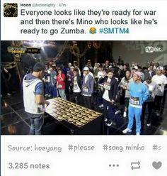 Minho in Show Me The Money, always gotta be ready to Zumba...
