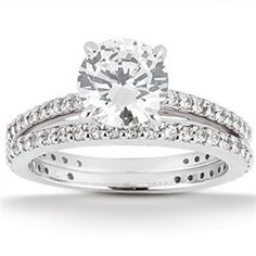 0.84 Cttw Round Diamond 2 Piece Bridal Set Engagement Ring Wedding Band in Solid…