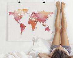 World map watercolor print, Travel Map, Large world map, world map watercolor, map painting, watercolor print, home decor, ArtPrintsVicky.