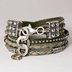 Turquoise Savanna - 3-strand leather bracelet