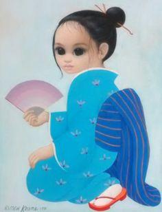 Untitled Asian Girl 1981 25x21 (Big Eyes) by Margaret D. H. Keane