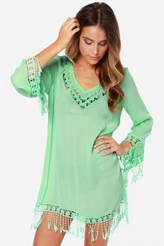 Life's a Beach Mint Green Crocheted Cover-Up at LuLus.com!