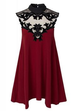 Burgundy A-line Stand-up Collar Sleeveless Dress
