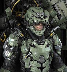 Valhallan Nebula — Deployment Unit by Fausto De Martini Robot Concept Art, Armor Concept, Suit Of Armor, Body Armor, Powered Exoskeleton, Tactical Armor, Sci Fi Armor, Ninja Armor, Futuristic Armour
