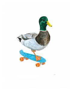 Duck print skateboard print skateboard decor by ShirleyHarveyArt Boy Wall Art, Nursery Wall Art, Skate Tattoo, Skateboard Decor, Duck Nursery, Duck Illustration, Illustrations, Balloon Fish, Duck Art