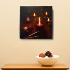 Red Tea Lights LED Canvas Art