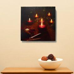Red Tea Lights LED Canvas Art