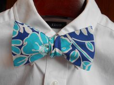 Bow Tie  Aqua and Navy Floral  Men's self tie by TrulySouthernTies