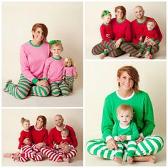 6e55fd7503 Family Christmas pajamas PREORDER top and pants sets Add a name monogram or appliqué  red green white stripes polka dots embroidered vinyl