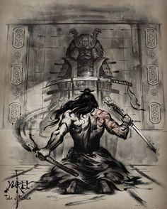 samurai and dragon tattoo Ronin Samurai, Samurai Jack, Samurai Warrior, Fantasy Kunst, Fantasy Art, Arte Ninja, Samurai Artwork, Samurai Drawing, Japon Illustration