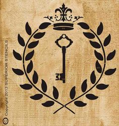 Stencils Royal KEY with Flourish and Crown by SuperiorStencils, $24.95
