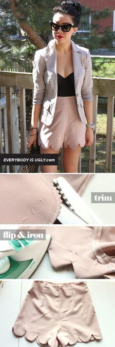 Scallop-edged shorts... could be useful to create a skirt hem too. How-to at http://www.chictopia.com/photo/show/633375-DIY+SCALLOPED+SHORTS-peach-scalloped-shorts