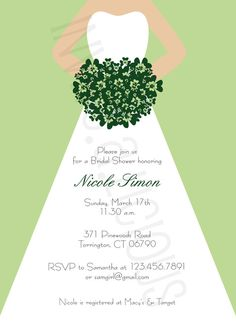 Customize this Fun, Classy, Chic, Irish, Shamrock Bouquet, Bridal Shower Invitation