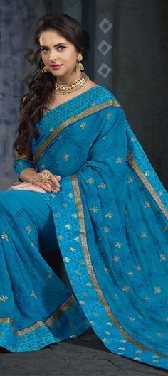 738435 Blue color family Embroidered Sarees, Party Wear Sarees in Brocade, Faux Georgette fabric with Border, Kasab, Machine Embroidery, Patch, Resham, Thread work with matching unstitched blouse.