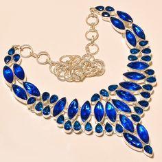 """.925 Silver Faceted Tanzanite Quartz Designer Necklace 18"""" #Handmade"""
