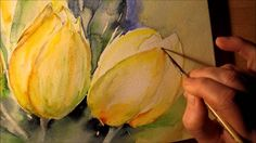 Watercolor yellow tulips video part 2