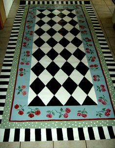 Painted Floor Cloths, Painted Rug, Hand Painted Furniture, Painted Floors, Stenciled Floor, Furniture Redo, Furniture Projects, Porch Paint, Mckenzie And Childs