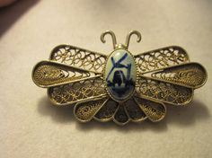 Vintage Silver Holland Butterfly Delft by zoecatglitzanglamour