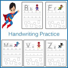 Superhero Handwriting Practice Sheets.
