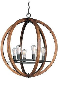 Light up your dining room with a statement-making chandelier above the table. Featuring a mix of wood and metal, this chandelier comes 6-light or 5-light with a beautiful orb shape to support the bulbs.