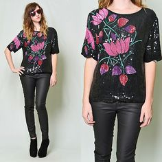 Vintage 80s Black Sequin Beaded Floral Deco Trophy Silk Glam Party Top Blouse S | eBay