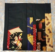 I absolutely loved the bookshelf block that Kim asked for to make a bookshelf quilt for her western-reading uncle. I'm a librarian, I asked...