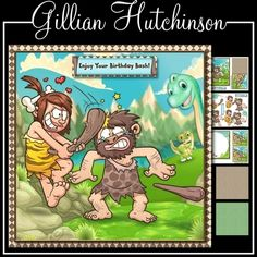 Its Your Birthday Lets go Clubbing by Gillian Hutchinson 5 page 7x7 fun caveman themed topper decoupage blank insert 2 8x8 matching papers cut and fold gift tag and mixed tiles Its Your Birthday Lets go Clubbing Hope You Enjoy Your Birthday Bash Hope Your Birthday is a Knock Out and one blank.