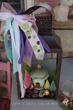 Have a Daily Cup of Mrs. Olson-gnome home in a lantern