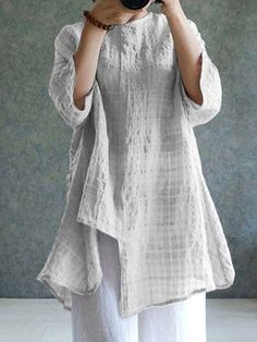 267a61958e21a Casual Crew Neck 3 4 Sleeve Shift Asymmetric Crinkled Printed Linen Plus  Size Blouse