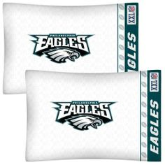 NFL Philadelphia Eagles Football Set of Two Pillowcases by NFL. $21.99. Genuine licensed merchandise.. Two NFL Philadelphia Eagles standard pillowcases.. Super-soft microfiber!. Machine washable. Standard pillowcases. Go with any size bed!. Two NFL Philadelphia Eagles logo standard pillowcases, finished size 20 x 30 inches (51 x 76 cm).