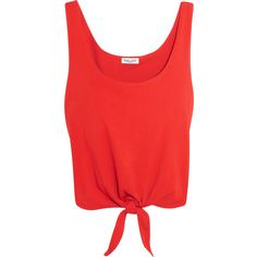 Splendid Tie-front cotton-jersey top ($100) ❤ liked on Polyvore featuring tops, red, cotton jersey, tie front top, splendid tops, layered tops and red top