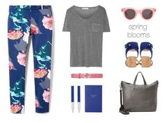 """""""spring blooms"""" by icelle ❤ liked on Polyvore featuring Banana Republic, Gucci, T By Alexander Wang, Smythson, Faber-Castell, Gianvito Rossi, Sun Buddies and Madewell"""