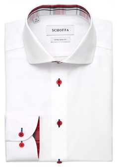 Schofa Cutaway Collar Extra Slim Fit Boston Red Shirt with Contrast Buttons