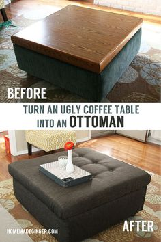 Ugly Coffee Table Turned Tufted Ottoman - After searching high and low for an affordable square storage ottoman for our living room, I decided to just make one… Square Storage Ottoman, Diy Ottoman, Ottoman Table, Tufted Ottoman, Ottoman Ideas, Kilim Ottoman, Furniture Projects, Furniture Makeover, Diy Furniture