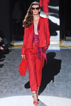 Red with purple accents for Fall is fabulous.Great fashion inspiration from salvatore ferragamo @getuncommon