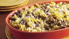 Swiss cheese and canned cream of chicken soup make a quick sauce for a savory ground beef and noodle dish.