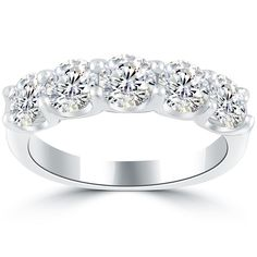 2.25 Carat G-VS/SI 5 Stone Diamond Wedding Band Anniversary Ring 14k White Gold #LioriDiamonds #WeddingBandAnniversaryRing