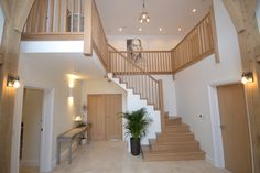 "Creating a ""Cut String"" staircase for a customer, to be the centrepiece of their recently refurbished home in Bosham, West Sussex. House Staircase, Staircase Design, Modern Staircase, Oak Frame House, Hallway Designs, Dream House Exterior, Home Comforts, New Home Designs, House Goals"