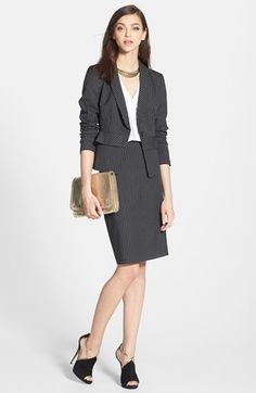 Halogen® Suit Jacket & Skirt, Olive & Oak Top | Nordstrom