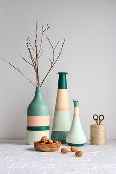 Easy DIY: striped vases | Habitat by Resene